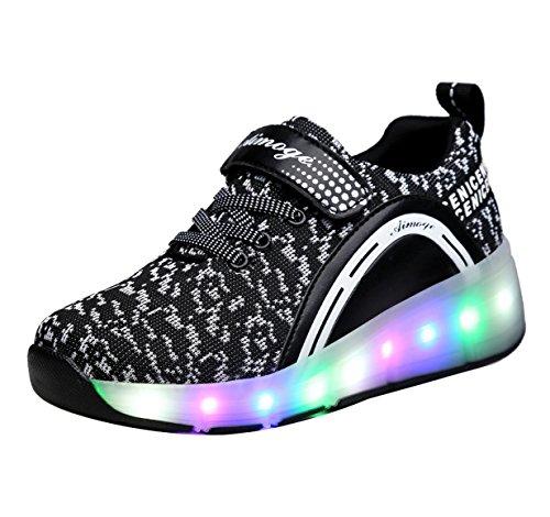 Price comparison product image FOUPLER Girl's Boy's LED Lighting Roller Skate Shoes Sport Sneaker for Little Big Kid 03Black 1/32