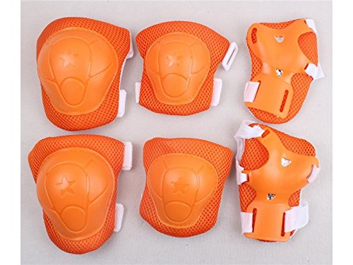 Wetietir Skating 6 Pcs/Set Kid's Protective Gear Set with Elbow Knee Handguard for Roller Skating Skateboard BMX Scooter Cycling (Orange M) for Protection by Wetietir