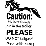 Horse Trailer Sticker Caution My Best Friends Sticker Window Door Decor for Trailer Decoration Safety Warning Decal Camper De