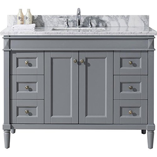 Virtu USA ES-40048-WMSQ-GR-NM Tiffany 48 inch single Bathroom Vanity Set In - Es Tiffany