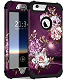 6 plus iphone protective case - iPhone 6s Plus Case, iPhone 6 Plus Case, Hocase Heavy Duty Shockproof Protection Hard Plastic+Silicone Rubber Protective Case for iPhone 6 Plus/6s Plus - Royal Purple/White Flowers