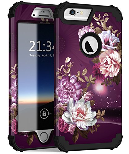 iPhone 6s Plus Case, iPhone 6 Plus Case, Hocase Heavy Duty Shockproof Protection Hard Plastic+Silicone Rubber Protective Case for iPhone 6 Plus/6s Plus - Royal Purple/White Flowers