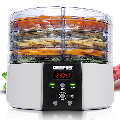 Geepas 520W Digital Food Dehydrator – Food Dryer with 5 Large Trays, Adjustable Temperature & Timer Settings, Ideal for Fruit, Healthy Snacks, Vegetables, Meats & Chili, BPA-Free - 2 Years Warranty