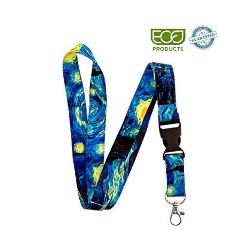 (Lanyard- Lanyard for Keys - Lanyard Keychain-Van Gogh Starry Night Premium Breakaway Lanyard)