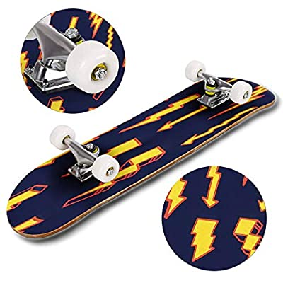 Classic Concave Skateboard a Pattern of Yellow red Lightning Bolts of Various Shapes in a Hand Longboard Maple Deck Extreme Sports and Outdoors Double Kick Trick for Beginners and Professionals : Sports & Outdoors
