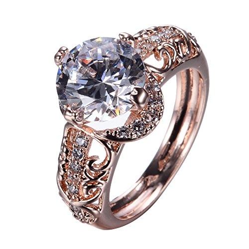 New 10KT Rose Gold Promise Rings,Next to 18 Small Cz, the Middle of a large White Crystal Girl Ring,The Best Choice for a Woman (5)