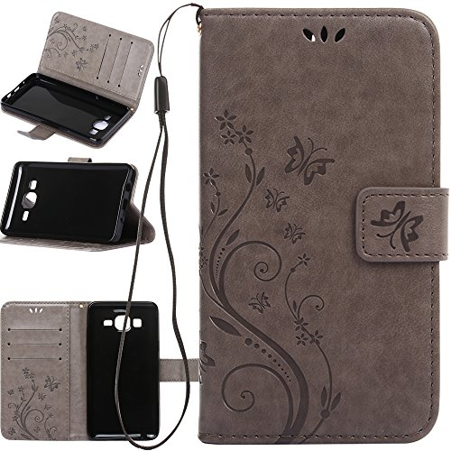 Cheap Wallet Cases Galaxy On5 Case, Harryshell(TM) Butterfly Flower PU Leather Wallet Protective Flip Pouch..