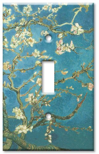 Oversize Single - Art Plates - Single Gang Toggle OVERSIZE Switch Plate/OVER SIZE Wall Plate - Van Gogh: Almond Blossoms