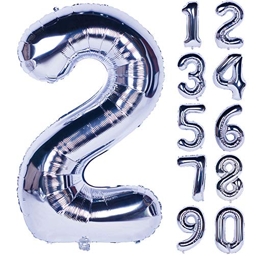 40 Inch Silver Numbers 0-9 Birthday Party Decorations Helium Foil Mylar Number Balloon Digital 2