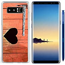 Luxlady Samsung Galaxy Note8 Clear case Soft TPU Rubber Silicone IMAGE ID: 42843465 Outdoor toilet door with carved heart below iron hinge Old traditional marking for outhous
