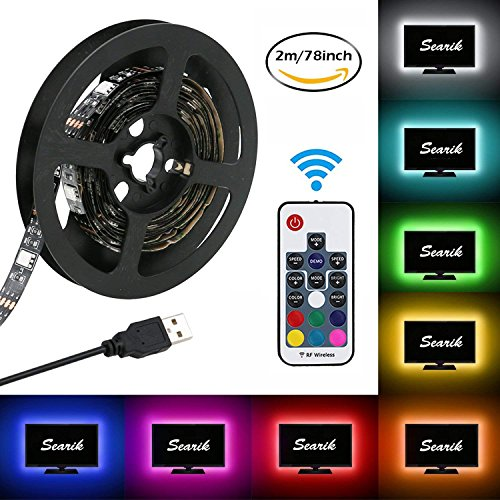 LED Strip Lights, USB TV Backlight Kit RGB Bias Lighting with Remote(78inch/2m), Ambient Home Theater Light, Accent Lighting to Reduce Eye Strain and Increase Image Clarity by Searik (Image #9)