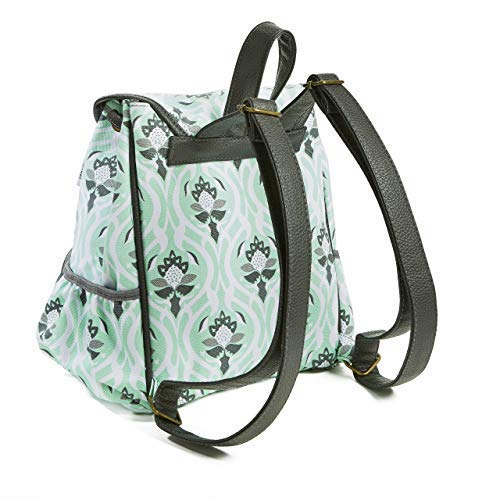 Fit /& Fresh Mini Backpack for Teens and Adults Mint Garden Tile 6531FF1384 Single Buckle Closure