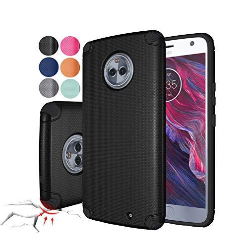 Moto X4 Case Cover - Rebex Shock-Absorption Anti-Fingerprint Non Slip Built-in Magnetic Metal Plate Case,Ultra Thin Lightweight Slim Protective Cases Cover for Motorola Moto X4 (Black)