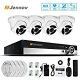 Jennov Security Poe System 4 Channel NVR 1080P IP Network Dome Camera Indoor Outdoor 3.6mm Lens Wide Angle Night Vision Home Video Surveillance (No Hard Drive Included)