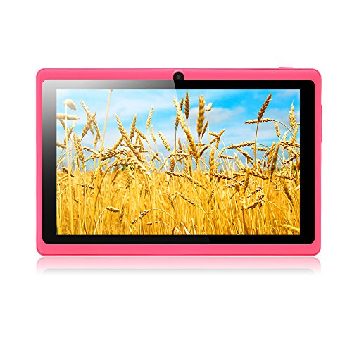 Weihnachts geschenk iRULU eXpro 1 Tablet PC (X1), Quad-Core, Android 4.4 KitKat, 16 GB ROM, 7 Zoll mit Auflösung 1024*600, rosa