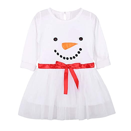 Hstore Baby Boys Girls Romper Christmas Snowman Print Dress Bodysuit Clothes HOT (2-3