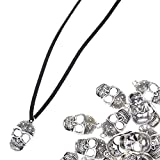 KLOUD City® 50 Pcs Metal Antique Silver Oxidezied Effect Skull Beads / Pendant / Charm/ for DIY Bracelet / Necklace Jewerly Making
