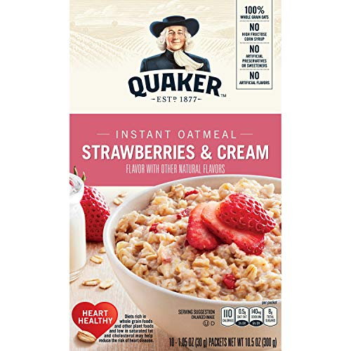 Quaker Instant Oatmeal, Strawberry & Cream, Breakfast Cereal, 10 Packets Per Box