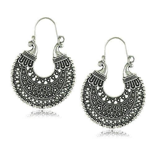 African Gold Earrings - African Tribal Gypsy Carved Chandelier Hoop Earrings for Women (Silver)