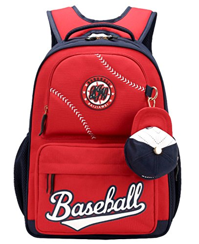 Amazon.com: Children Baseball Schoolbag Waterproof Lightweight Bookbag Student Two Zipper Shoulder Bag Nylon Backpack Red: Toys & Games