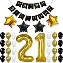 21st Birthday Party Decorations Kit, Happy Birthday Banner, 21st Gold Number Balloons,Gold and Black, Number 21, Perfect 21 Years Old Party Supplies,Free Bday Printable Checklist