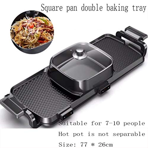 YFJL Household 1500W Non-Stick Smokeless Frying Pan 3 in 1, Multi-Person Household Electric Hot Pot, Multi-Function Electric Baking Pan, Can Be Used Anytime,B