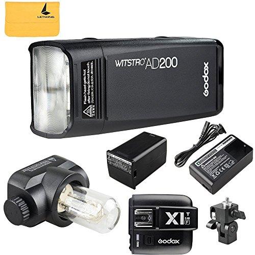GODOX AD200 TTL 2.4G HSS 1/8000s Pocket Flash Light Double Head 200Ws with 2900mAh Lithium Battery Flashlight Flash Lightning+GODOX X1T-F Flash Trigger Transmitter for Fuji DSLR Cameras by Godox