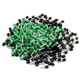 Aexit 380Pcs 10AWG Wire E6012 Metal Tube Pre-Insulate Terminals Black Green