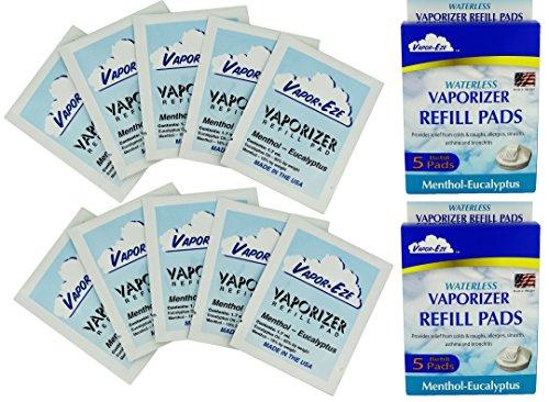 Vapor-Eze Original Waterless Vaporizer Refill Pads, Menthol Eucalyptus, 5 Count (Pack of - 2 Pads Refill