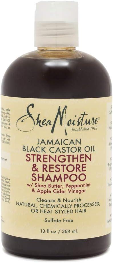 Shea Moisture Jamaican Champú fortalecedor y restaurador de aceite de ricino negro, 384 ml