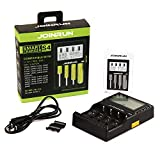 Joinrun 4-Slots LCD Display Universal Battery Charger for 3.7V Li-ion 10440 14500 14650 16340 17670 18500 18650 18700 22650 20700 22700 25500 26650 26700 Batteries