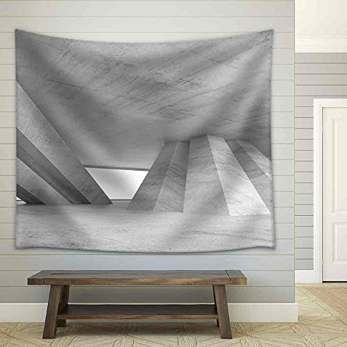 Abstract Empty Concrete Interior with Inclined Columns and Window Fabric Wall Tapestry