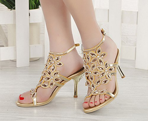 Party Stiletto Heel Rhinestone Gold Women Shoes Pump for Mid Sandals Wedding Perfect Honeystore qwnZtBxnz
