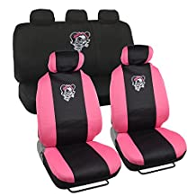11PC Pink Lady Skull Seat Cover Combo Kit