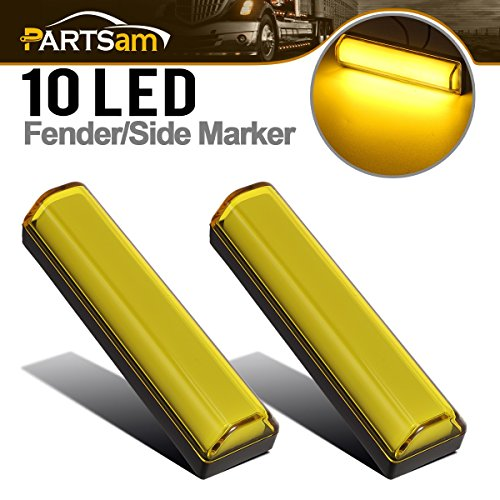 Partsam Sealed 10LED Rectangular led Clearance/Marker Light - GLOW Light - Yellow Accent Lighting(Pack of 2)