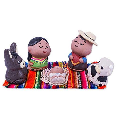NOVICA Ceramic Nativity Scene, Set of 5, Peruvian Nativity