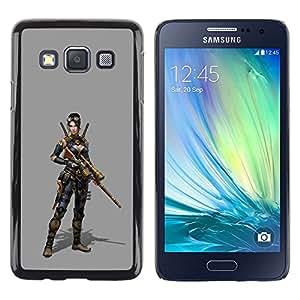 Caucho caso de Shell duro de la cubierta de accesorios de protección BY RAYDREAMMM - Samsung Galaxy A3 SM-A300 - Woman Pc Game Character Fighter War