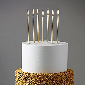 24 Count Party Long Thin Cake Candles Metallic Birthday In Holders For Cakes Cupcake Champagne Gold