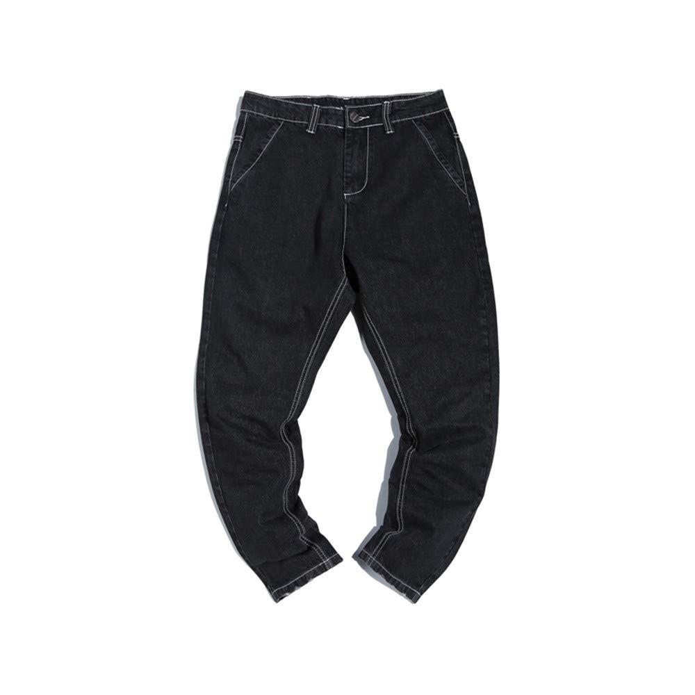 EVEORSSRA Jeanshosen Jeans Retro Street Casual Hosen Gezeiten Männer Jugend Füße Haren Hosen Schwarze Hosen
