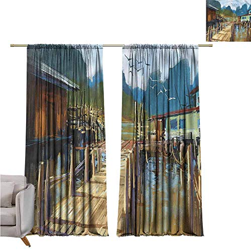 zojihouse SceneryBlackoutCurtains for Living Pier Oil Painting Style W120xL82 ()