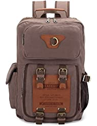 Kaukko Classic Canvas Backpack with 2 Side Pockets, College School Laptop Bookbag, Satchel, Hiking Bag, Fit 15.6...
