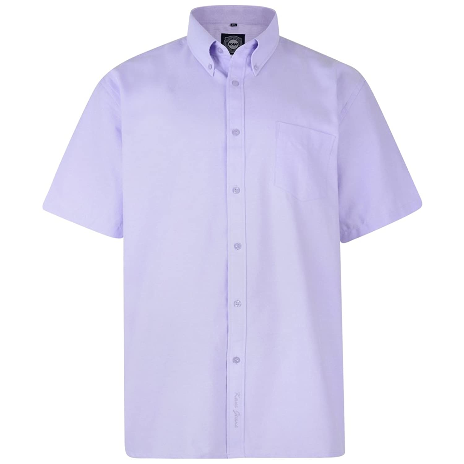 Kam Oxford Classic Short Sleeve Shirt - Lilac