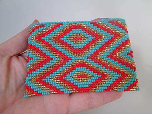 diamond geometric aztec design gold red Turquoise zig zag hand beaded glass seed beads Fair trade Guatemalan handmade design pattern zippered coin purse credit card holder pouch bag
