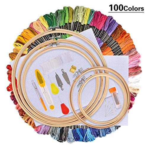 Embroidery | Colors Skeins Embroidery Pen Needle Set Thread Punch Stitching Knitting Kit Women Mom DIY Sewing Accessories with Tweezer | by CUSODI