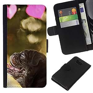 eJoy---La carpeta del tirón la caja de cuero de alta calidad de la PU Caso protector - Samsung ALPHA G850 - --Pug Puppy Dog Valentines Heart Love