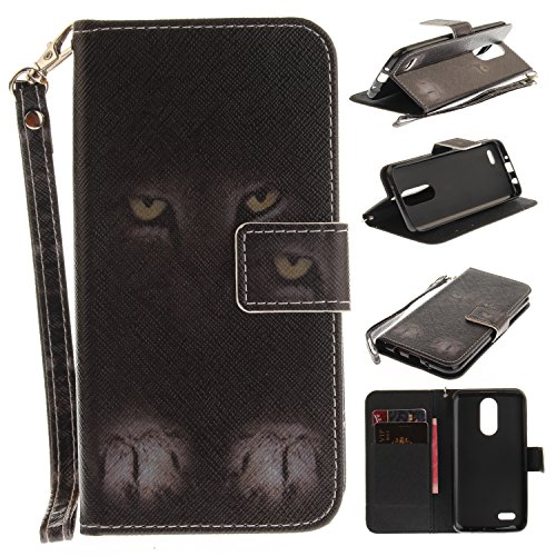 LG Aristo/LG Phoenix 3/LG K8 2017/LG Fortune Case, LG Risio Case, LG Rebel 2 LTE Case, Tznzxm Luxury PU Leather Wallet Flip Protective Kickstand Cover with Card Slots and Wrist Mysterious cat -