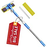Professional 3-in-1 Window Squeegee -Microfiber Extendable Window Scrubber Washer Cleaner Tools 180 Rotatable Window Cleaning Squeegee for Window, Car or Shower
