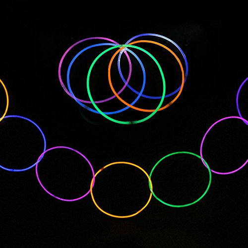 200 Pcs 11'' Glow Sticks Necklaces Pack - Light up Toys Glowsticks Bracelets Assorted Colors In The Dark Light Sticks by Novelinks (Image #5)