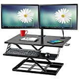 Halter ED-310 Preassembled Height Adjustable Desk Sit / Stand Elevating Desktop with Built-in Cable Management and Optional Keyboard Tray - Black - New Version
