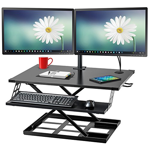 Halter ED-310 Preassembled Height Adjustable Desk Sit / Stand Elevating Desktop with Built-in Cable Management and Optional Keyboard Tray - Black - New Version by Halter